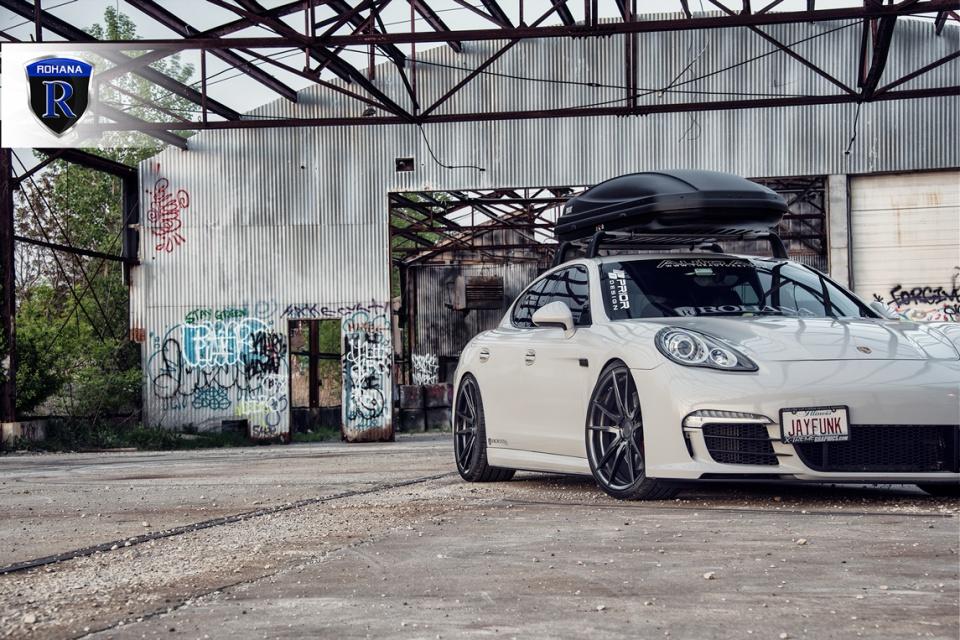 Porsche Panamera sitting flush with the matte black Rohana ...