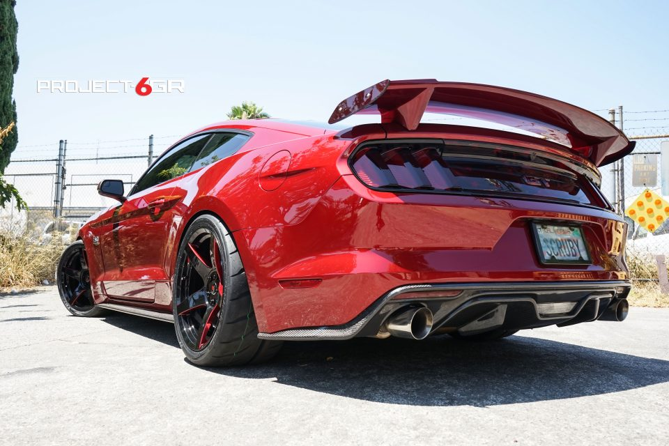 This Ruby Red Ford Mustang GT gets new custom Project 6GR 5-spoke wheels – Need 4 Speed Motorsports