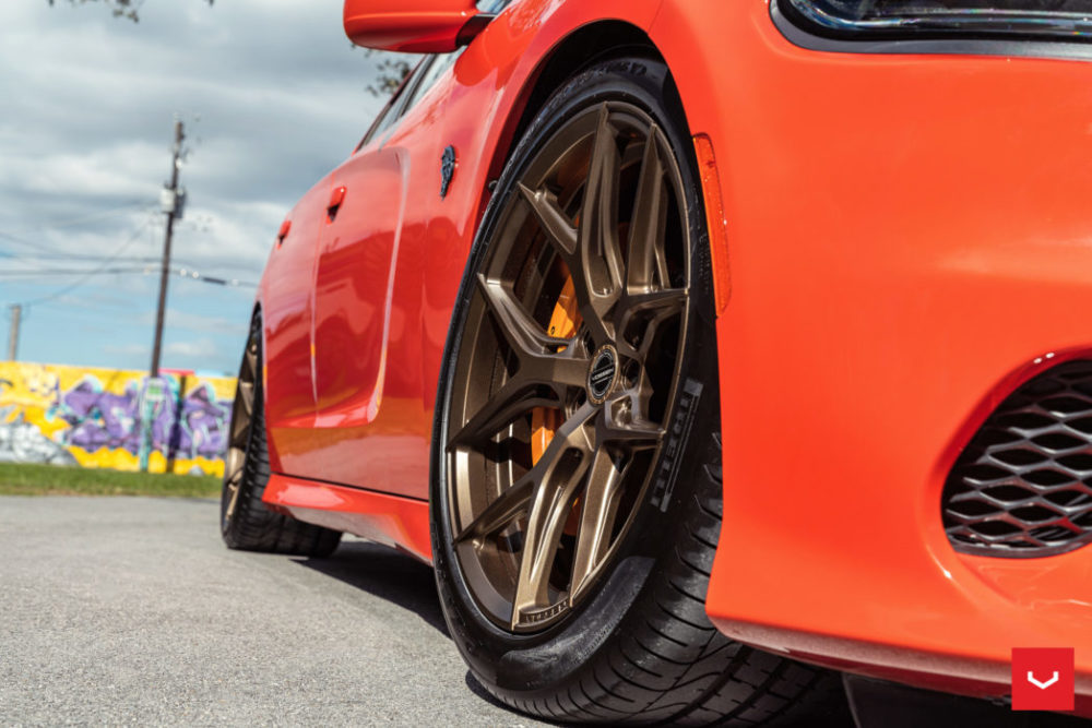 orange hellcat charger hf5 vossen hybrid forged wheels satin bronze