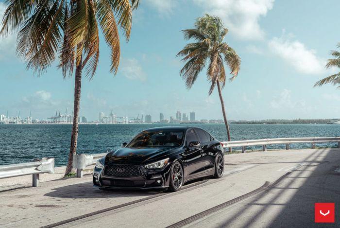q50s black infiniti vossen hybrid forged hf5 wheels