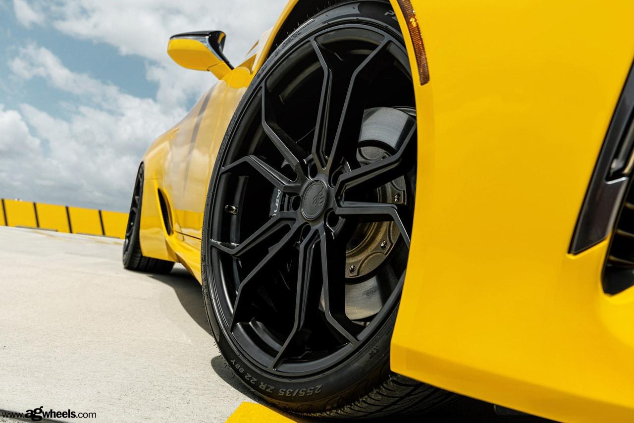 yellow lexus lc500 agwheels black
