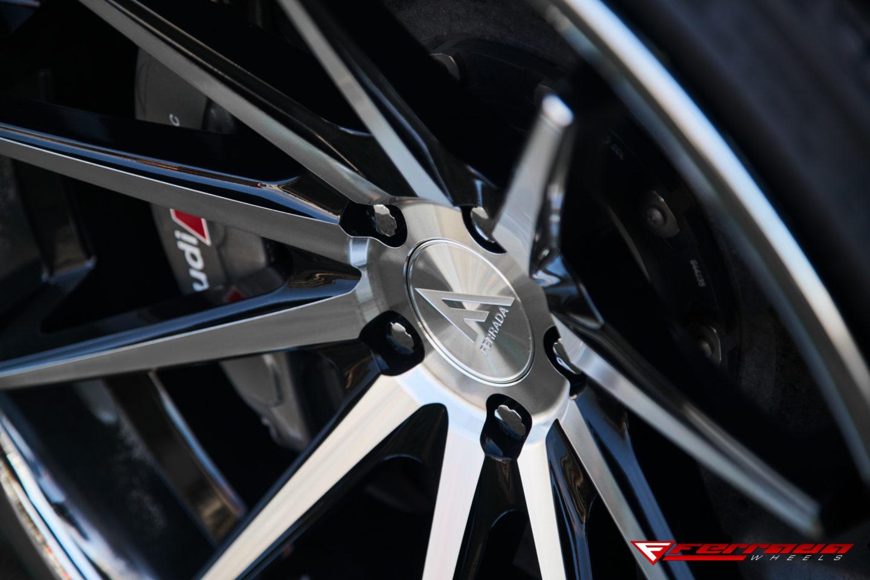 nsm fr ferrada machine black chrome lip  audi rs wheel close up