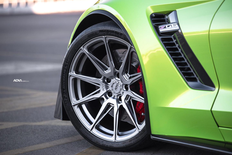 needspeed motorsports bright green vinyl wrapped c z corvette adv flow spec wheels concave g