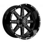 17x9 Tuff T15 GLOSS BLACK W/ MACHINED FACE AND MILLED DIMPLES