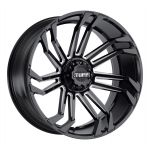 24x11 Tuff T21 GLOSS BLACK W/ MILLED SPOKES