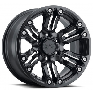 17x8.5 Black Rhino Asagai Matte Black w/ Machined Spoke & Stainless Bolts