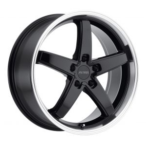 20x8.5 Petrol P1B GLOSS BLACK W/MACHINE CUT LIP