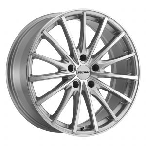 17x8 Petrol P3A SILVER W/ MACHINE CUT FACE
