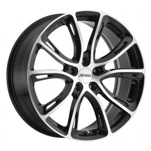 17x7.5 Petrol P5A GLOSS BLACK W/ MACHINE CUT FACE