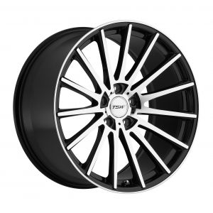 17x8 TSW Chicane GLOSS BLACK W/MIRROR CUT FACE