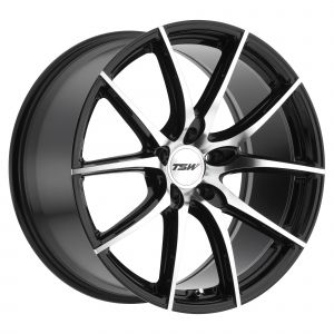 17x8 TSW Sprint GLOSS BLACK W/MIRROR CUT FACE