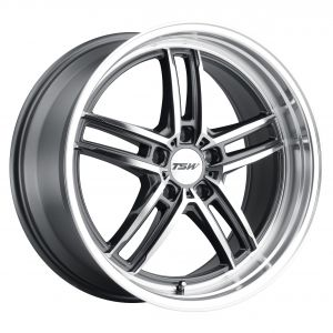 17x8 TSW Suzuka GLOSS GUNMETAL W/MIRROR CUT FACE & LIP