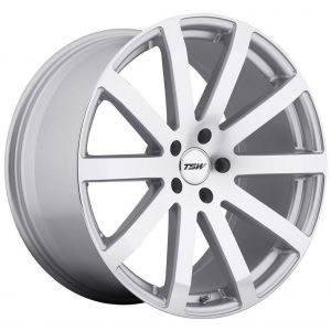 18x9.5 TSW Brooklands Silver w/ Mirror Cut Face