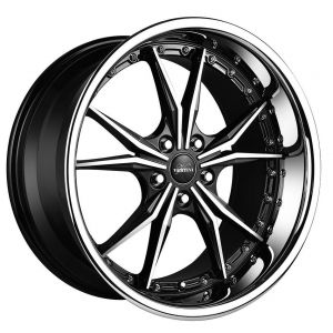 19x9.5 Vertini Dark Knight Gloss Black Machined Face w/ Chrome Stainless Steel Lip