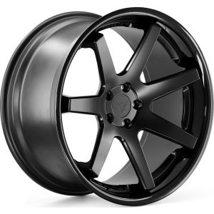 Staggered full Set - 20x10.5 Ferrada FR1 Matte Black w/ Gloss Black Lip 20x11.5 Ferrada FR1 Matte Black w/ Gloss Black Lip