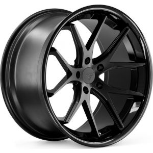 Staggered full Set - 20x10 Ferrada FR2 Matte Black w/ Gloss Black Lip 20x11.5 Ferrada FR2 Matte Black w/ Gloss Black Lip