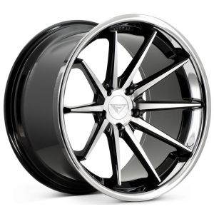 Staggered full Set - 20x10.5 Ferrada FR4 Machine Black w/ Chrome Lip 20x11.5 Ferrada FR4 Machine Black w/ Chrome Lip