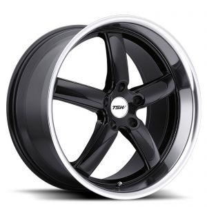 18x8 5x100 TSW Wheels Stowe Gloss Black With Mirror Cut Lip 35 offset 72.1 hub