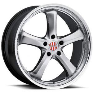18x8 5x130 Victor Equipment Wheels Turismo Hyper Silver With Mirror Cut Lip 45 offset 71.5 hub