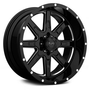 18x10 5x127 Tuff Wheels T15 Gloss Black With Milled Spokes -13 offset 78.1 hub