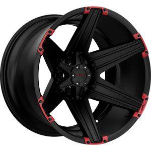 20x10 5x114.3/5x127 Tuff Wheels T12 Satin Black With Red Inserts -19 offset 78.1 hub