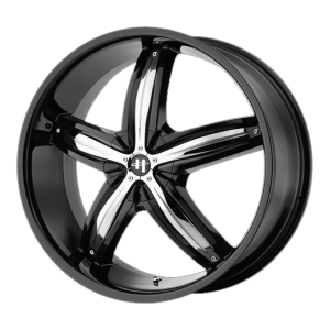 18x8 5x100/5x114.3 Helo Wheels HE844 Gloss Black With Removable Chrome Accents 40  offset  72.6  hub