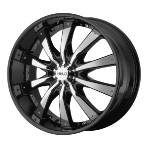 20x8.5  Helo Wheels HE875 Gloss Black With Removable Chrome  Accents 15  offset  106.25  hub