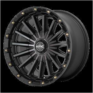 17x9  KMC Wheels KM102 Signal Satin Black With Gray Tint -12  offset  106.1  hub