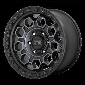 17x8  KMC Wheels KM545 Trek Satin Black With Gray Tint 20  offset  106.1  hub