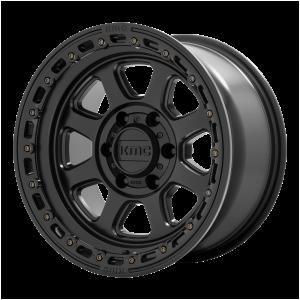 17x9  KMC Wheels KM548 Chase Satin Black With Gloss Black Lip -12  offset  106.1  hub
