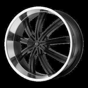 22x9.5  KMC Wheels KM672 Widow Gloss Black With Machined Face 15  offset  77.8  hub