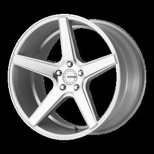 18x8  KMC Wheels KM685 District Silver Machined 38  offset  66.56  hub