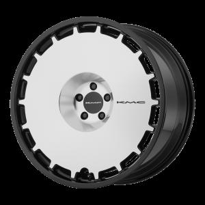 22x9  KMC Wheels KM689 Skillet Gloss Black Machined Face 15  offset  72.6  hub