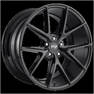 20x10 5x114.3 Niche Wheels M119 Misano Gloss Black 40 offset 72.56 hub