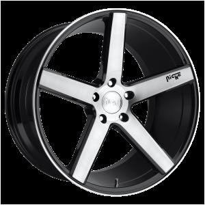 17x8 5x114.3 Niche Wheels M124 Milan Gloss Black Brushed 40 offset 72.56 hub