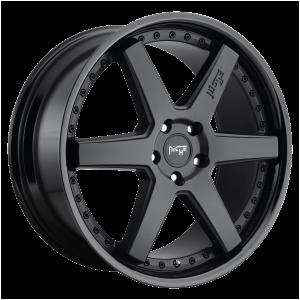 18x8.5 5x108 Niche Wheels M192 Altair Gloss Black Matte Black 40 offset 72.56 hub