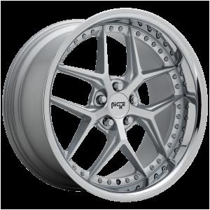 20x10.5 5x112 Niche Wheels M225 Vice Matte Silver 40 offset 66.56 hub