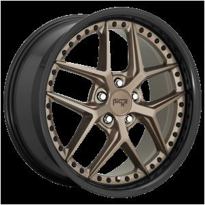 19x8.5 5x112 Niche Wheels M227 Vice Matte Bronze Black Bead Ring 42 offset 66.5 hub