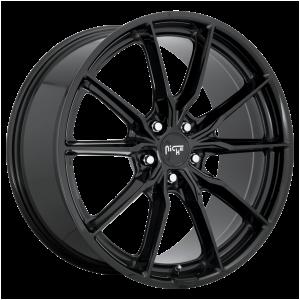 18x8 5x112 Niche Wheels M240 Rainier Gloss Black 27 offset 66.5 hub
