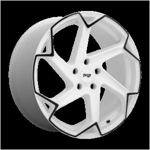 20x10.5 5x112 Niche Wheels M257 Flash Gloss White With Black 27 offset 66.56 hub