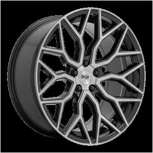 19x8.5 5x112 Niche Wheels M262 Mazzanti Gloss Black Brushed Face 25 offset 66.5 hub