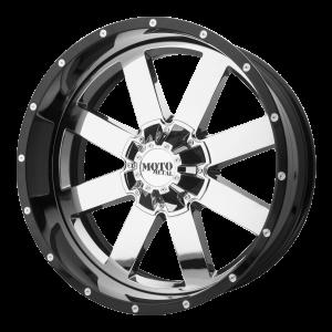 20x10 5x127 Moto Metal Offroad Wheels MO200 Chrome Center Gloss Black Milled Lip -18  offset  72.6  hub