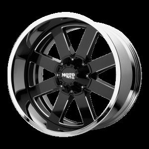 20x10 5x127 Moto Metal Offroad Wheels MO200 Gloss Black Milled Center Chrome Lip -18  offset  72.6  hub