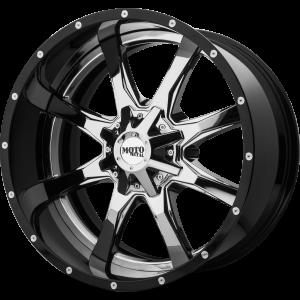 20x10 5x127 Moto Metal Offroad Wheels MO201 Chrome Center Gloss Black Milled Lip -18  offset  72.6  hub