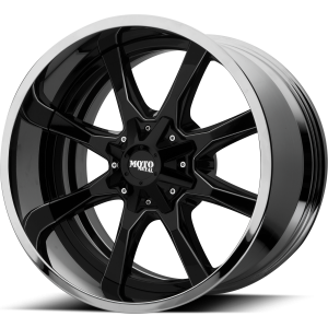 20x10 5x127/5x139.7 Moto Metal Offroad Wheels MO201 Gloss Black Milled Center Chrome Lip -18  offset  78.3  hub