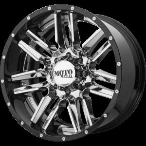 20x10 5x127 Moto Metal Offroad Wheels MO202 Chrome Center Gloss Black Milled Lip -18  offset  72.6  hub