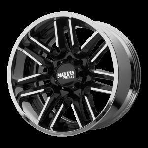 20x10 5x127 Moto Metal Offroad Wheels MO202 Gloss Black Machined Center Chrome Lip -18  offset  72.6  hub