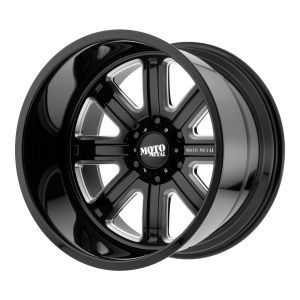 20x10 6x139.7 Moto Metal Offroad Wheels MO402 Gloss Black Milled -24  offset  106.25  hub