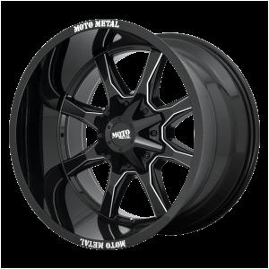 16x8 6x120/6x139.7 Moto Metal Offroad Wheels MO970 Gloss Black With Milled Spoke And Moto Metal On Lip 0  offset  78.3  hub