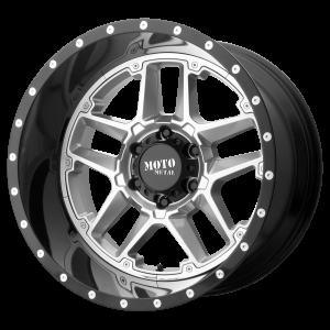 16x8 5x114.3 Moto Metal Offroad Wheels MO987 Sentry Gloss Silver Center Gloss Black Lip -6  offset  72.6  hub